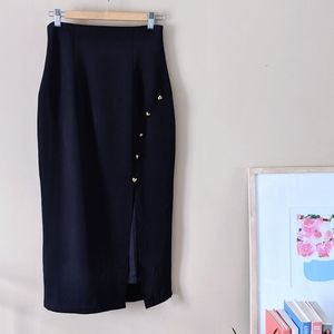90s long black pencil skirt with gold heart detail